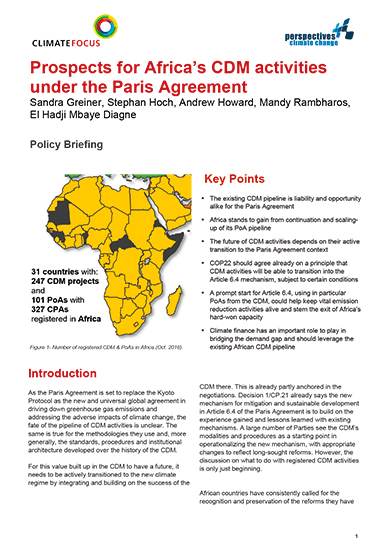 Prospects for Africa's CDM activities under the Paris Agreement