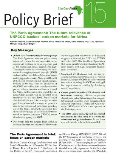 The Paris Agreement: The future relevance of UNFCCC-backed carbon markets for Africa